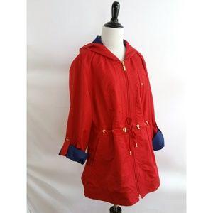 Susan Graver Size M Red Jacket Blue Trim Hooded
